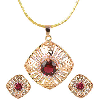 Glitters 24 Ct Gold Plated Pink Imported Pendant Sets With Earrings For Women