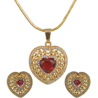 Glitters 24 Ct Gold Plated Heart Shape Red Imported Pendant Sets With Earrings For Women