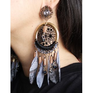 In Trend Exclusive Statement Chandelier Grey Feather Earrings For Women Light Weight