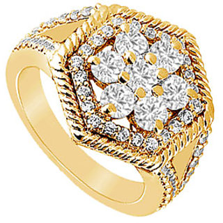 Pulchritudinous Diamond Flower Ring In 14K Yellow Gold