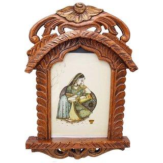 Gomati Ethnic Rajasthani Lady Portrait Wooden Jharokha Gift 173