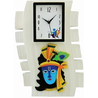 Ravishing White Celebrations Krishna Analog Wall Clock DP011