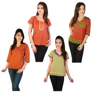 Jaipuri Design Fashionable Cotton Kurtis Combo Set 37238