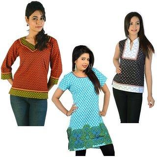 Fancy Design 3 Rajasthani Cotton Kurtis Combo Set 37440