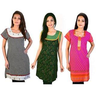 Jaipuri Design Fashionable Cotton Kurtis Combo Set 37538