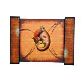 Wrought Iron on wooden base Colorful Krishna wooden Square Wall Frame /  Hand Painted Wall Hanging Brown shades Ganesha face With mantra