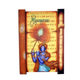 Wrought Iron on wooden base Colorful Krishna wooden Vertical Wall Frame / Hand Painted Wall Hanging Yellow shades