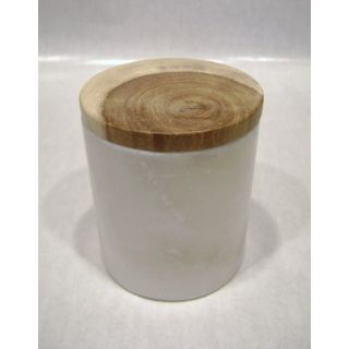 White Marble Canister w/ Mango Wood Lid