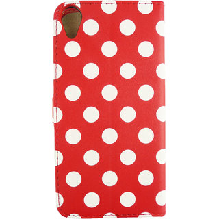 Emartbuy Phone HTC Desire 820 Case Wallets/Flips Red Polka