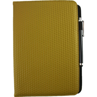Emartbuy Lenovo IdeaTab S6000H PC Universal ( 9 - 10 Inch ) Mustard Padded 360 Degree Rotating Stand Folio Wallet Case Cover + Stylus