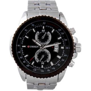 CURREN Men's Analog Round Dial Wrist Watch with Silver Metal Strap CURREN.FD.8082 SILVER BLK 3DATE