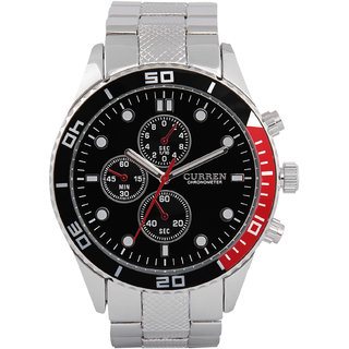 CURREN Men's Analog Black Round Dial Wrist Watch with Silver Metal Strap CURREN.8028.SilverBlack.Dial