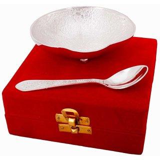 Gomati Ethnic Silver Polished Oval Shape Brass Bowl n Spoon