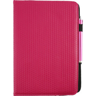 Emartbuy Lenovo IdeaTab S6000H PC Universal ( 9 - 10 Inch ) Dark Hot Pink Padded 360 Degree Rotating Stand Folio Wallet Case Cover + Stylus
