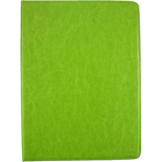 Emartbuy Mediacom SmartPad i10 3G 10.1 Inch Tablet PC Universal ( 9 - 10 Inch ) Green Premium PU Leather Multi Angle Executive Folio Wallet Case Cover Tan Interior With Card Slots  + Stylus
