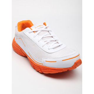 Playback Men's White & Orange Synthetic Sports Shoes