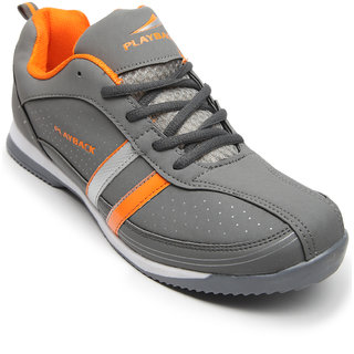 Playback Men's Grey & Orange Synthetic Sports Shoes