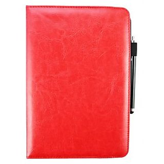 Emartbuy Odys Rapid 10 LTE Tablet 10.1 Inch PC Universal ( 9 - 10 Inch ) Red 360 Degree Rotating Stand Folio Wallet Case Cover + Stylus