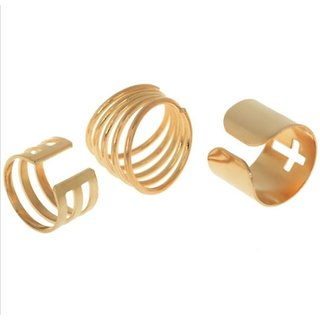 Jewel Touch Hollow Out Cross Design Alloy Ring Set