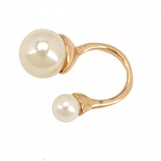 Jewel Touch Pearly Golden Twin Alloy Ring