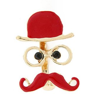 Jewel Touch Moustache Shape Double Finger Alloy, Enamel Ring