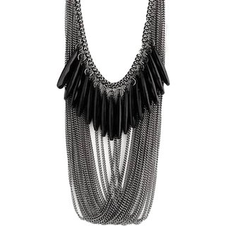 Jewel Touch Black Falling Beads Alloy Necklace