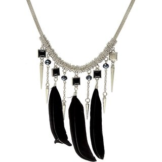 Jewel Touch Minky Black Feather Tassel Design Alloy Necklace