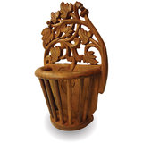 Beautiful Wooden Hand Carved Wall Hanging Flower Vase Home Décor Showpiece Gift