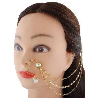 Anuradha Art Golden Tone Classic Traditional Designer Nose Ring Dulhan Nose Pin For Women/Girls