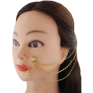 Anuradha Art Golden Colour Jodha Styled With Stone Nose Ring Dulhan Nose Pin For Women/Girls