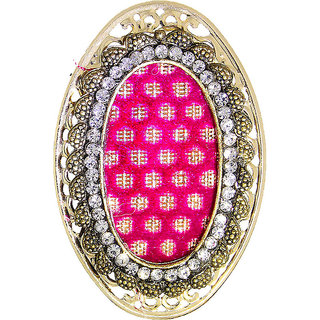 Anuradha Art Pink Colour Very Classy Designer Styled With Stone Brooch/Sari Pin For Women/Girls