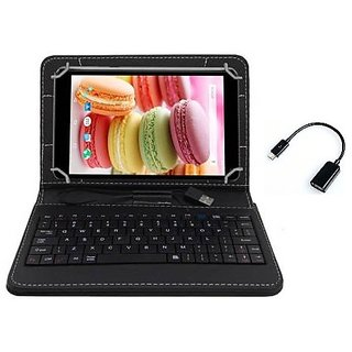 Krishty Enterprises 7Keyboard for Micromax Funbook Talk P350 - Black with OTG Cable