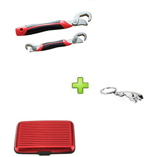 Snap N Grip Red Steel Wrench And Red Aluma Wallet With Free jaguar keychain