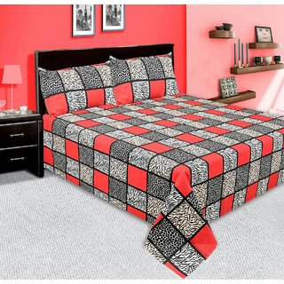 Redbear 100 premium cotton double bed sheet set with 2 Pillow Covers