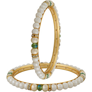 VISHAKA PEARLS  JEWELLERS crystal bangle set (pack of 2)