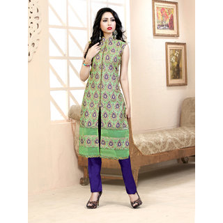 Thankar Light Green  Purple Embroidered Jequard Straight Suit