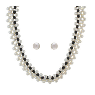 VISHAKA PEARLS  JEWELLERS black pearl necklace set(VJWL03)