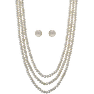 VISHAKA PEARLS  JEWELLERS 3 layer white pearl necklace set(VJWL04)