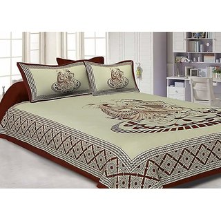 V Brown Exclusive Pure Village Design Double Bedsheet With 2 Pillow Covers