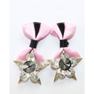 Star Shape Earring With Baby Pink Colored Satin Cloth