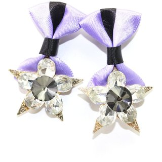Star Shape Earring With Purple Colored Satin Cloth