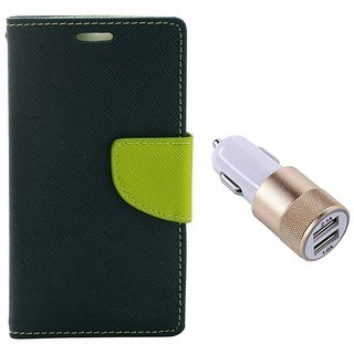 MERCURY Wallet Flip case Cover for  Sony Xperia M4 Aqua Dual (BLUE) With Usb Car Charger Adapter