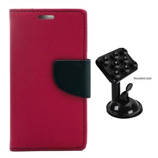 MERCURY Wallet Flip case Cover for  Micromax Bolt D320 (PINK) With Universal Car Mount Holder