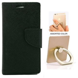 MERCURY Wallet Flip case Cover for Reliance Lyf Wind 6 (BLACK) WITH MOBILE RING STAND