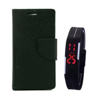 MERCURY Wallet Flip case Cover for  Asus Zenfone 5 (BLACK) With Digital Watch