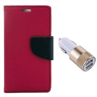 MERCURY Wallet Flip case Cover for Reliance Lyf Flame 2 (PINK) With Usb Car Charger Adapter