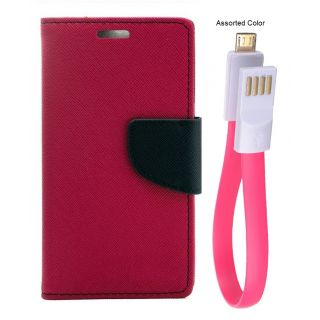 MERCURY Wallet Flip case Cover for Reliance Lyf Wind 4 (PINK) With power bank usb cable