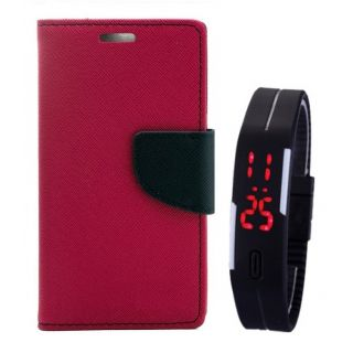MERCURY Wallet Flip case Cover for  Micromax A102 Canvas Doodle 3 (PINK) With Digital Watch