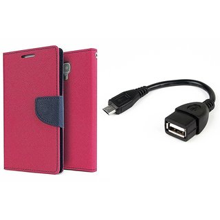 MERCURY Wallet Flip case Cover for  Sony Xperia SP (PINK) With micro usb Otg Cable