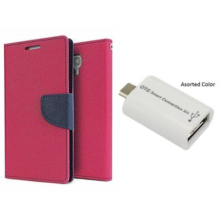 MERCURY Wallet Flip case Cover for  Sony Xperia E4 G (PINK) With micro Otg Smart